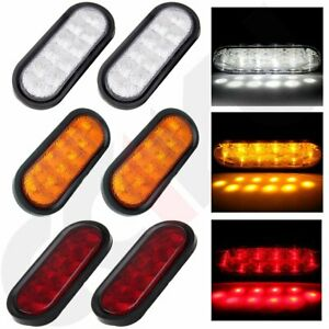 3pairs Of 6 White Reverse Amber Turn Red Stop Tail Lights Sealed Kits 10led