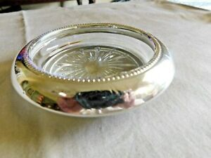 Vintage Frank M Whiting Beaded Sterling Silver Rim Glass Wine Coaster
