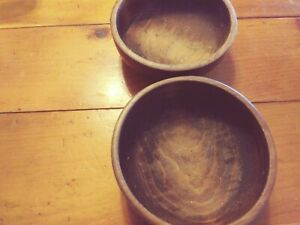 2 Vintage Solid Wood Bowls Ship Free