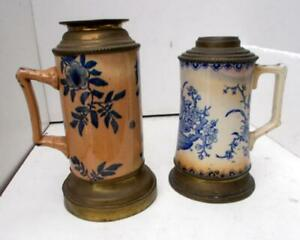 2 Antique French Pottery Aesthetic Chamber Oil Lamps 1 Gien 1 Other