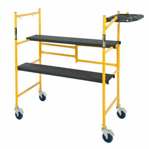 4 Ft Metaltech Portable Mini Rolling Scaffold Folding Steel Scaffolding Platform