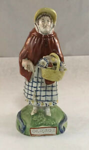 Antique Early English Staffordshire Old Age Pearlware Figure Statue