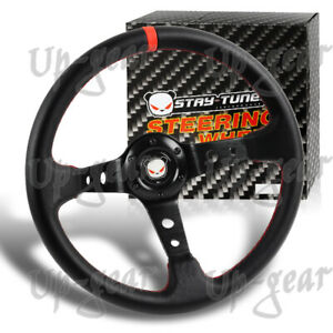 Deep Dish Drift Black Red Leather 6 Hole Steering Wheel 350mm Universal