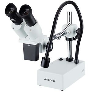 Amscope 20x Widefield Stereo Microscope W Boom Arm Stand Led Incident Light