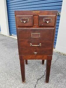 Antique Shaw Walker Mahogany 3 Drawer Filing Cabinet 53 19