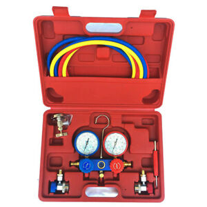 2 Way Ac Manifold Gauge Set R134a R134 R410a R404a R22 W Hoses Coupler Adapters