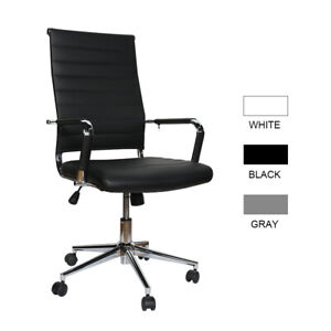 Office Chair High Back Pu Leather Computer Height Adjustable Rolling Swivel