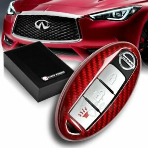For Nissan 370z 350z Altima Maxima Real Red Carbon Fiber Remote Key Shell Cover