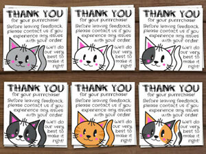 100 Thank You For Your Purchase Cat Stickers Shipping Labels Or Business Cards