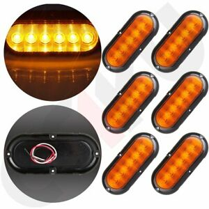 For Trailer Truck Amber 6 Led Flange Mount Oval Stop Turn Tail Brake Light Qty 6