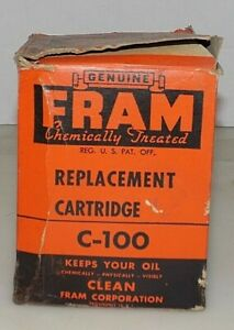 Vintage Fram Replaceable Cartridge Oil Filter C 100 Nos