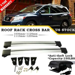 2x Roof Rack Cross Bar Luggage Bike Carrier Lock Kit For 13 19 Nissan Pathfinder