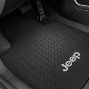2 Front Floor Mats Oem Jeep Factory Logo Rubber Liners Black All Weather Slush