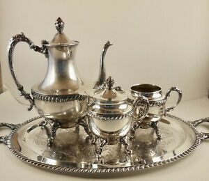 Vintage Glastonbury Silver On Copper Coffee Tea Pot Set 501 503 504 W Tray