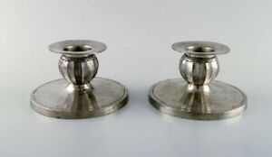 Just Andersen A Pair Of Art Deco Candlesticks In Pewter 1940 S