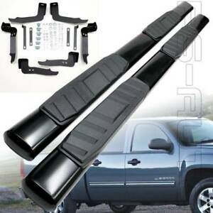 Fit 01 13 Chevy Silverado 04 13 Gmc Sierra Crew Cab Black 5 Oval Side Step Bar