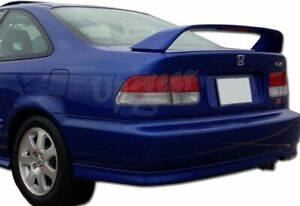 For 2001 2005 Honda Civic Coupe Black Rear Trunk Led Brake Spoiler Lip Wing