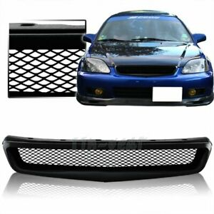 For 99 00 Honda Civic Jdm Type R Style Black Mesh Abs Front Hood Grille Grill