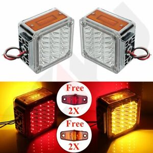1 Pair Red Light yellow Amber Car Tail Lights 39 Led Universal 12v 4x Free Light