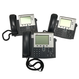 Lot Of 3 Cisco 7942 Ip Voip Business Phone W Handset Cord