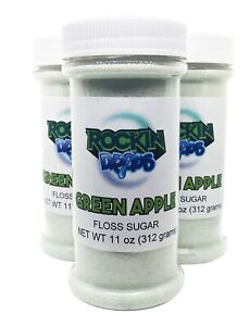 Rockindrops Cotton Candy Pre Mixed Floss Sugar 11oz 3 Pack Green Apple Flavor