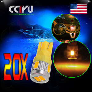 20x Warm White T10 Cob License Plate 168 194 Car Wedge Interior Led Lights Bulbs