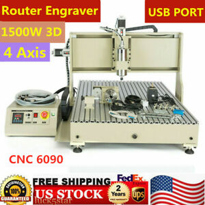 Usb 4 Axis 1500w Engraver 6090 Cnc Router 3d Cutter Mill Vfd Carving Machine