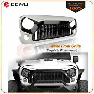 Black white Angry Bird Grille W mesh For 07 18 Jeep Wrangler Jk Jku Abs Matte