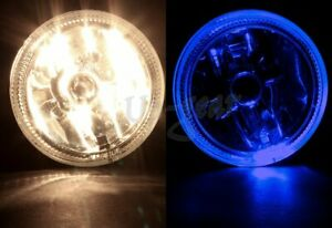 Universal 4 Round Blue Halo Chrome Housing Clear Lens Fog Driving Lights Lamps