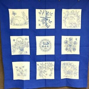 Beautiful Blue Vintage Pictorial Bride Quilt Cats Rooster Love Birds Signed