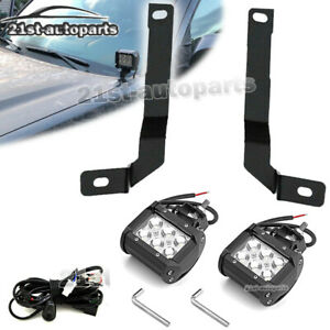 For 16 Toyota Tacoma Truck 4 Led Fog Light Upper Hood Ditch Bracket Wire Kit