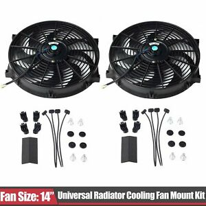 Set Of 2 Universal 14 Slim Fan Push Pull Electric Radiator Cooling 12v Mount