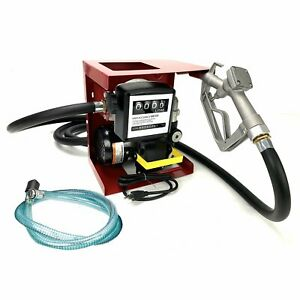 110v Electric Transfer Diesel Oil Fuel Pump With Meter 13 Manual Nozzle Hose