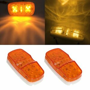 2x 10 Diodes Led Trailer Marker Light Double Bullseye Clearance Lamps Amber