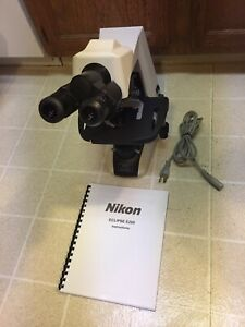 Nikon Eclipse E200 f Microscope 4 Infinity Lenses Mechanical Stage Works Nice