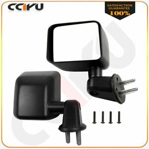 Cciyu Right left Side Black Mirrors Manually Folding For 2007 17 Jeep Wrangler