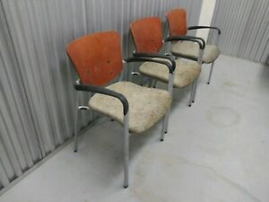 Set Of 3 Haworth usa Office waiting Room Chairs In Wood fabric metal