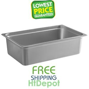 Full Size 6 Deep Silver Anti jam Stainless Steel Hotel Steam Table Pan