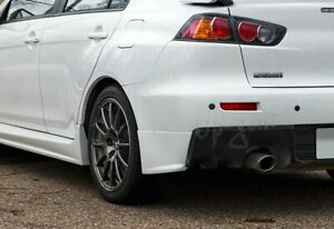 For 08 15 Mitsubishi Lancer Evolution Black Rear Bumper Lip Aprons PU 2PCS $46.50