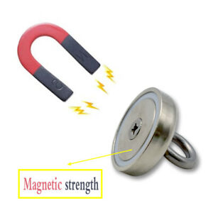 255 Lbs 2 36 Inch Fishing Magnet Super Strong Neodymium Round Thick Eye Bolt