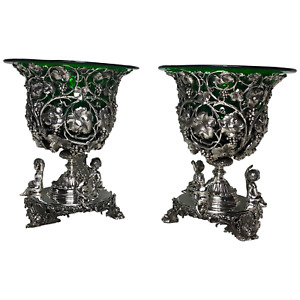 Pair Neoclassical Silver Champagne Wine Ice Liners Cooler Vases After Paul Storr