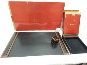 Dacasso D8437 Walnut And Leather Desk Pad Letter Tray Pencil Cup Set Ship Dmg