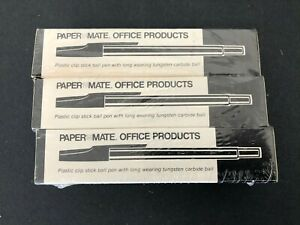 Lot Of 36 Vtg Paper Mate 333 11 Stick Ball Pens Medium Point Black Ink New Nos