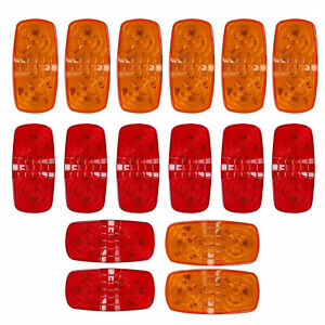 14x 10 Diodes Led Trailer Marker Light Double Bullseye Clearance Lamps Red Amber