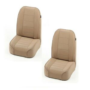 Rugged Ridge 13400 04 Set Of 2 Low Back Front Tan Bucket Seats For 55 86 Jeep Cj