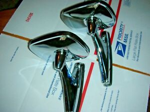 Nos Vintage Classic Rectangle Dual Twin Sport Hot Rod Side Mirrors