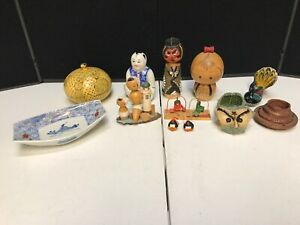 Vintage Japan Asian Oriental Traditional Souvenir Wooden Handcrafted Figures