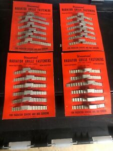1930 40 s Chevy Ford Radiator Grill Fasteners Display Cards Set Of 4 Nos Rare
