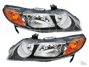 Black Oe Style Replacement Headlights For 2006 2011 Honda Civic 4dr Sedan