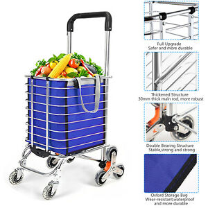 35l Folding Shopping Cart Jumbo Basket Grocery Laundry Travel W swivel 3 Wheels